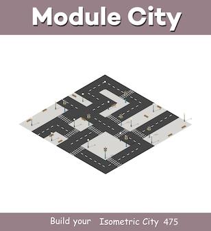 Isometrische stadskaart milieuset, elementen.