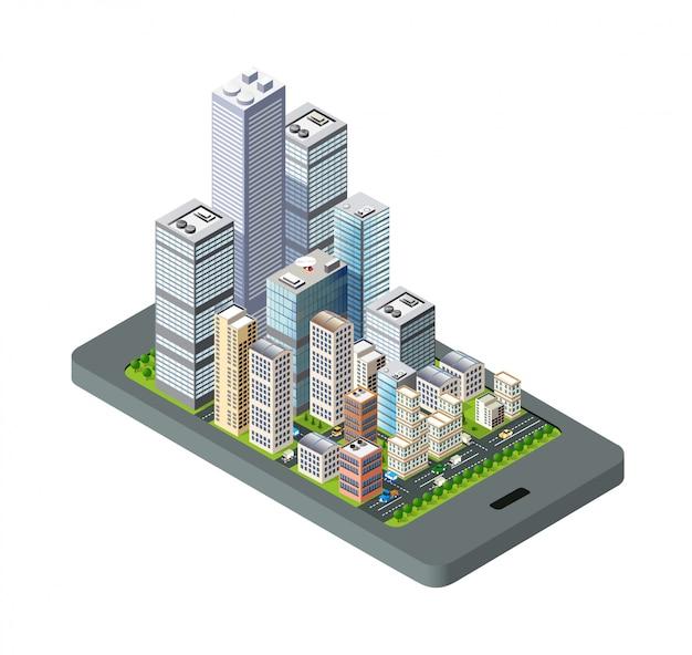 Isometrische stadskaart navigaties stedelijke cartografie