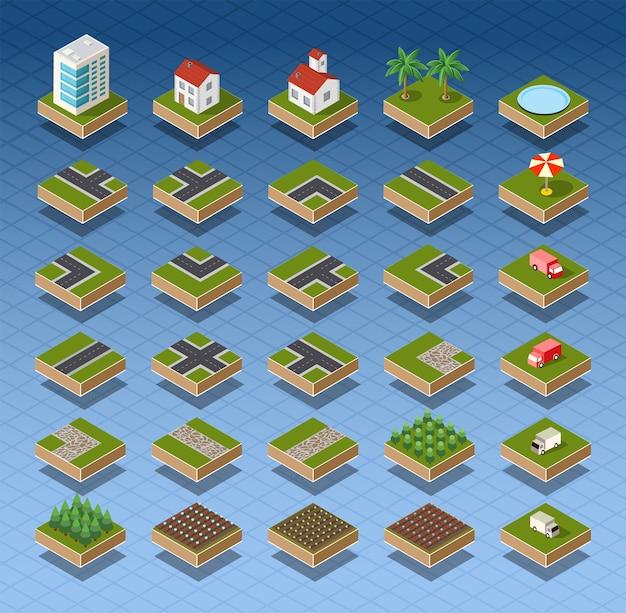 Isometrische stadskaart weg, bomen en gebouw huiselementen instellen geïsoleerd