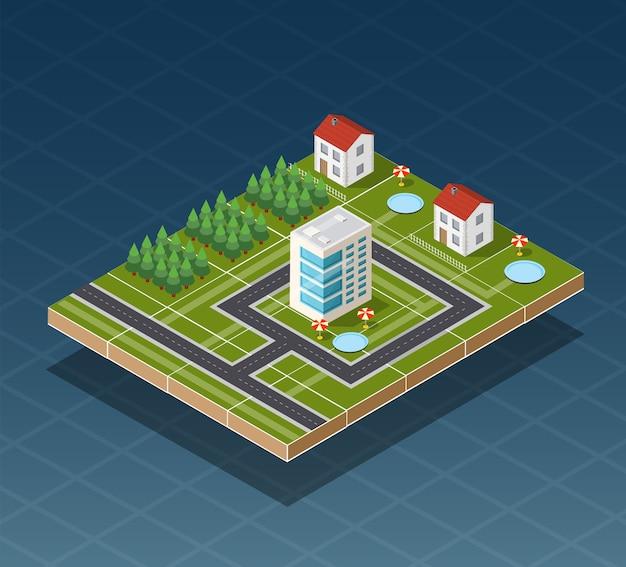 Isometrische stadskaart weg, bomen en gebouw huiselementen