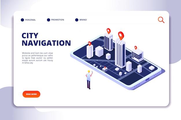 Isometrische stadsnavigatie-bestemmingspagina