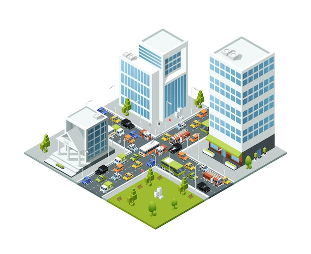 Isometrische stadsvervoer actieve beweging in vastgelopen stad 3d gebouwen bussen en auto's