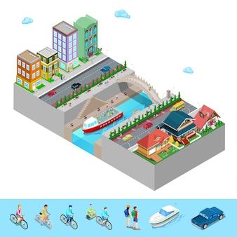 Isometrische stadszicht met gebouwen brug dijk en rivier.