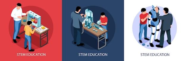 Isometrische stam onderwijs illustratie set