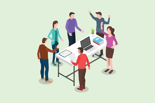 Isometrische stand-up of staande vergadering concept