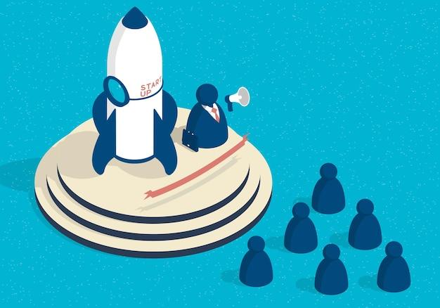 Isometrische start illustratie met raket en abstracte zakenman