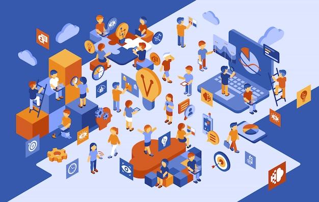 Isometrische start-up mensen zakelijke infographics