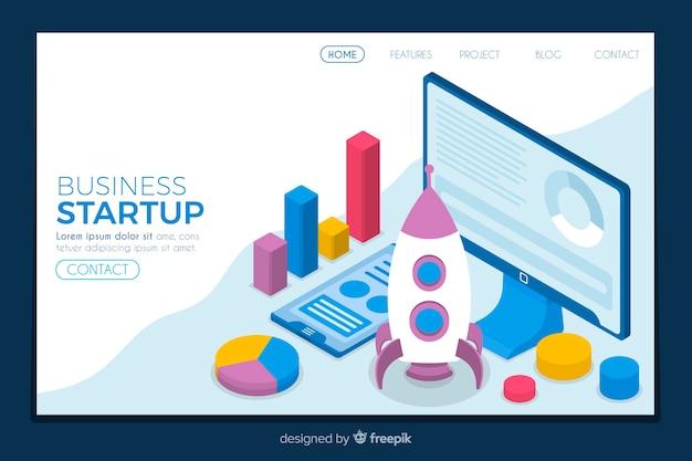 Isometrische startpagina voor het opstarten van bedrijven
