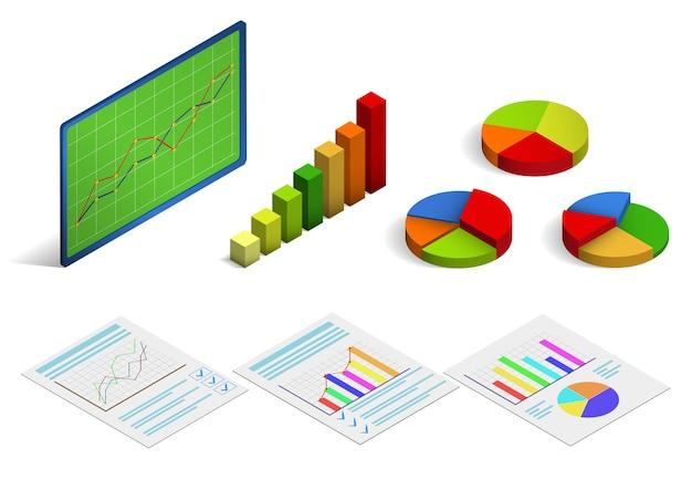 Isometrische statistische grafiek of curve. vector illustratie