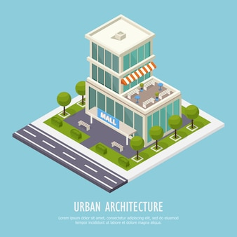 Isometrische stedelijke architectuur