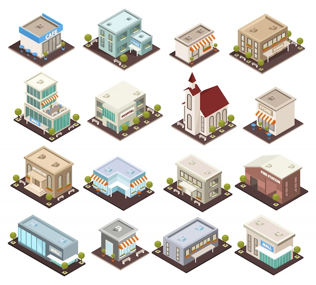 Isometrische stedelijke architectuurcollectie