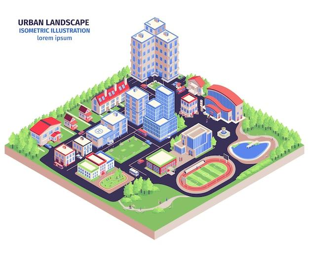 Isometrische stedelijke compositie met modern stadsdistrictlandschap met laagbouw, groene zones en stadionillustratie