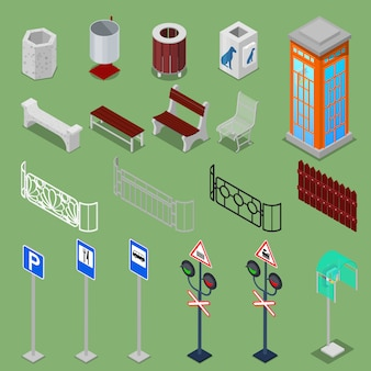 Isometrische stedelijke elementen