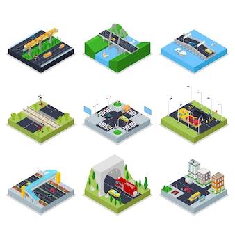 Isometrische stedelijke infrastructuur met wegen