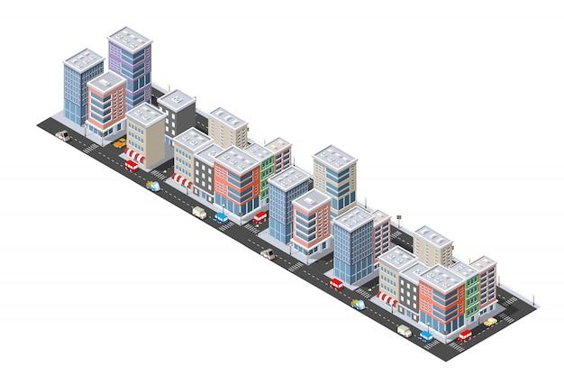 Isometrische stedelijke megalopolis bovenaanzicht van de stad