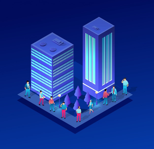 Isometrische stedelijke mensen