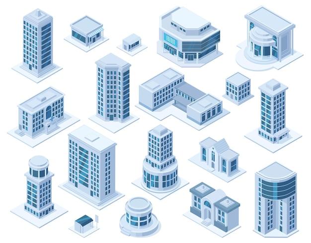 Isometrische stedelijke stad centrum district architectuur gebouwen. wolkenkrabber gebouwen, ziekenhuis school en winkel vector illustratie set. moderne stadsgebouwen