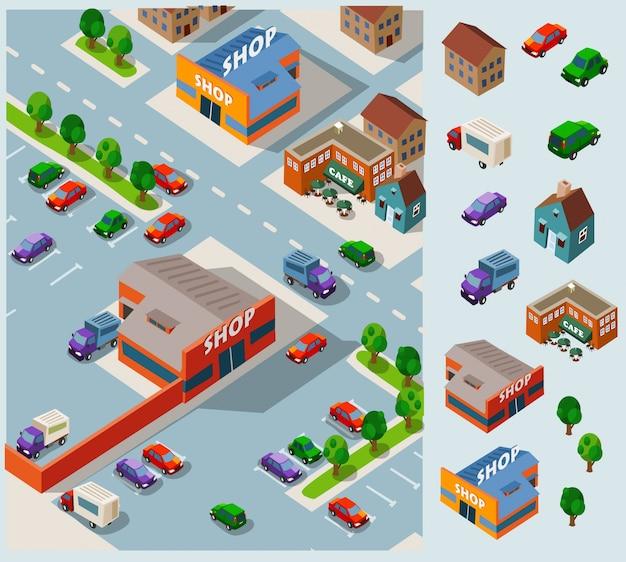 Isometrische stedelijke stad