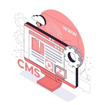 Isometrische stijl cms-concept geïllustreerd