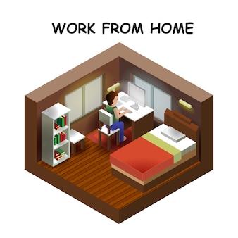 Isometrische stijl huis binnen interieur open transparant plafond, creatieve architectuur info afbeelding, werk vanuit huis