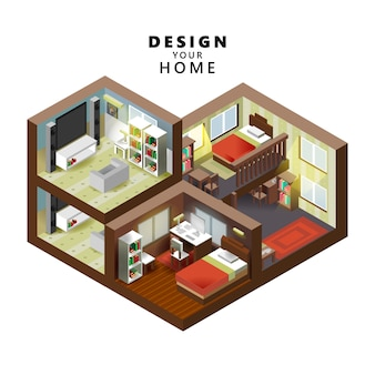 Isometrische stijl huis binnen interieur open transparant plafond, creatieve architectuur info afbeelding