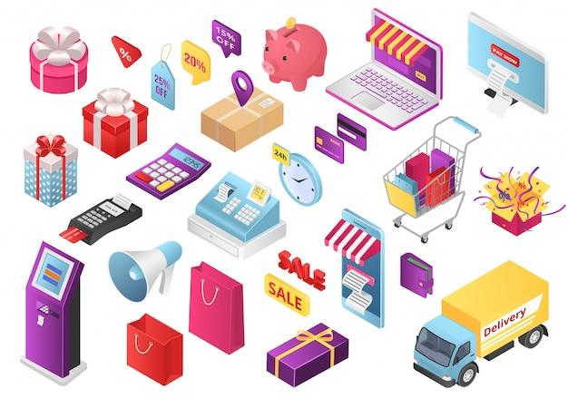Isometrische stijl online winkel winkelen set illustraties. web mobiele app infographics pictogramserie. winkelwagen, boodschappentas, creditcard, tablet en portemonnee, winkelcollectie met geld en geschenkverpakkingen.