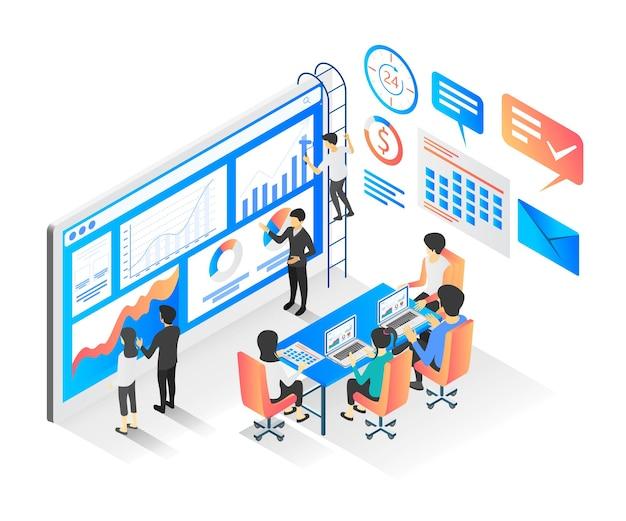 Isometrische stijl vectorillustratie van een vergadering over bedrijfseconomische ontwikkeling