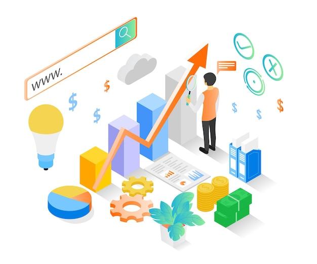 Isometrische stijlillustratie over bedrijfsfinanciënoplossing