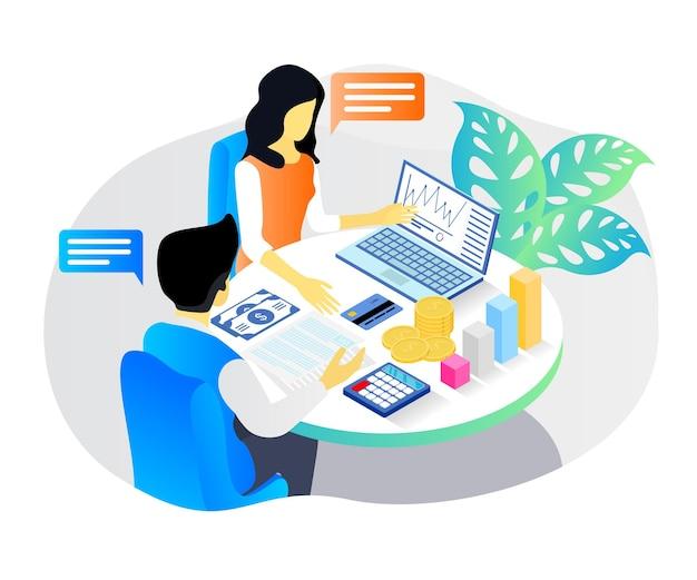 Isometrische stijlillustratie over bedrijfsstrategieonderwijs of bedrijfspresentatie