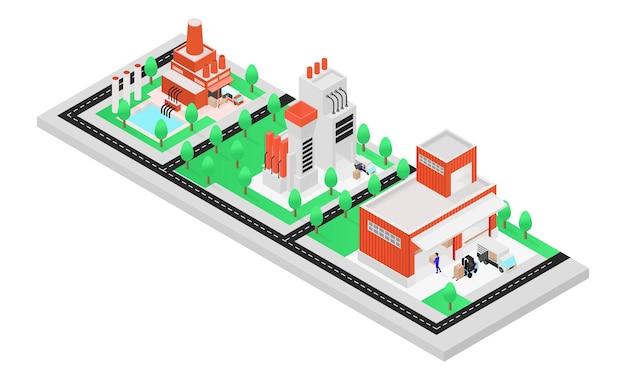 Isometrische stijlillustratie over het proces van levering van productiegoederen van fabriek naar magazijn