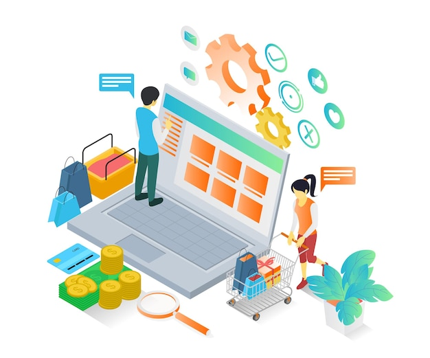 Isometrische stijlillustratie van een man die op zijn laptop in een online winkel winkelt