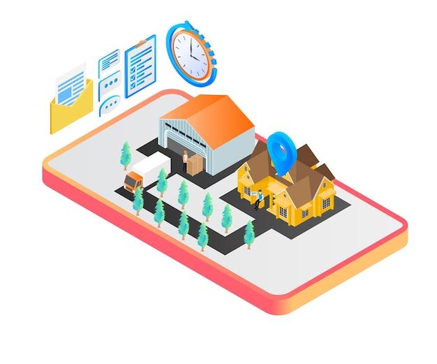 Isometrische stijlillustratie van leveringsopdracht met smartphone en vrachtwagen