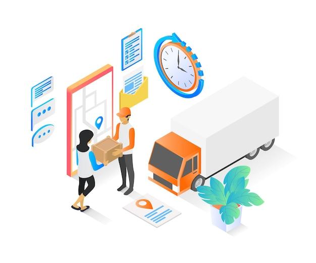 Isometrische stijlillustratie van leveringsopdracht met vrachtwagen en smartphone