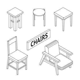 Isometrische stoelen.