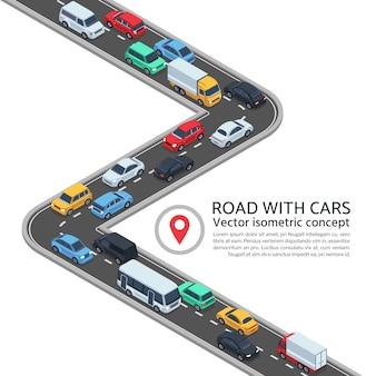 Isometrische straat met auto's. 3d weg en voertuigen vectorconcept