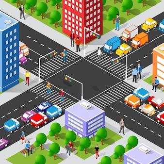 Isometrische straatkruising 3d illustratie van het stadsdeel met huizen