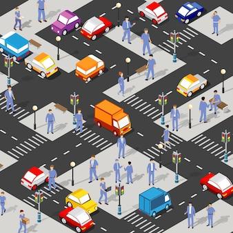 Isometrische straatkruising 3d illustratie van het stadsdeel met straten