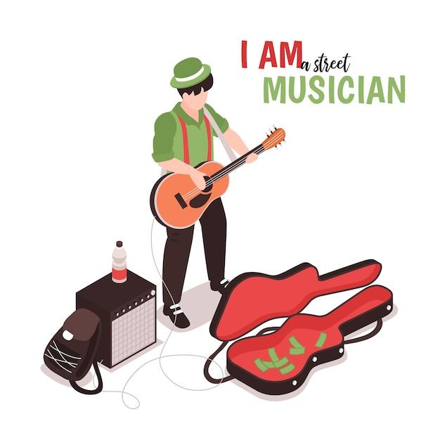 Isometrische straatmuzikant man karakter van straatartiest met akoestische gitaar
