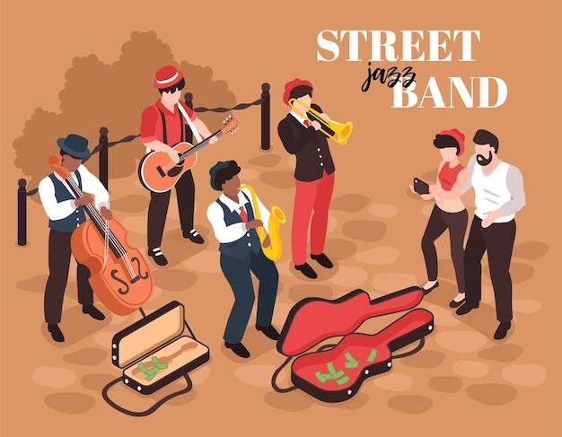 Isometrische straatmuzikantensamenstelling met menselijke karakters van jazzbandleden met luisteraars en tekst