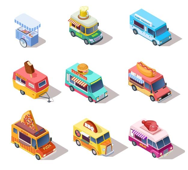 Isometrische straatvrachtwagens en karren. verkoop van hotdogs en koffie, pizza en snacks. 3d-geïsoleerde vector set