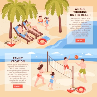 Isometrische strand huis tropische vakantie horizontale spandoeken met afbeeldingen van familie ontspannen