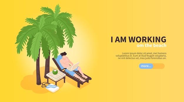 Isometrische strandhuis tropische vakantie horizontale banner