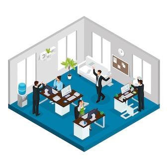Isometrische stress op het werk concept met werknemers in stressvolle en problematische situaties op kantoor geïsoleerd