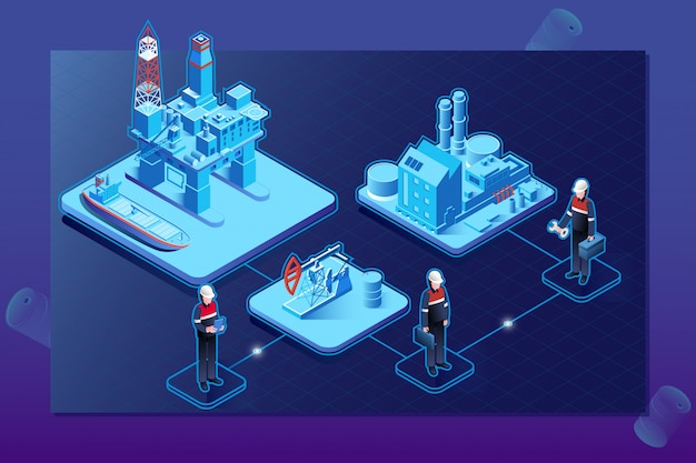 Isometrische stroomdiagram van de olie-gasindustrie met offshore platform