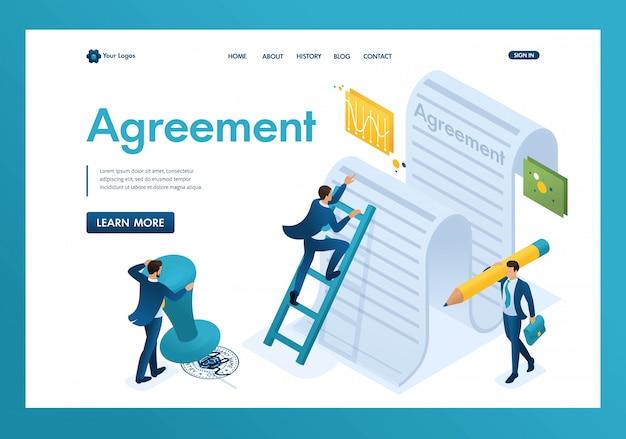 Isometrische studie van de tekst van de overeenkomst door werknemers van het bedrijf en ondertekening van de contractlandingspagina