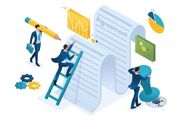 Isometrische studie van de tekst van de overeenkomst door werknemers van het bedrijf en ondertekening van het contract.