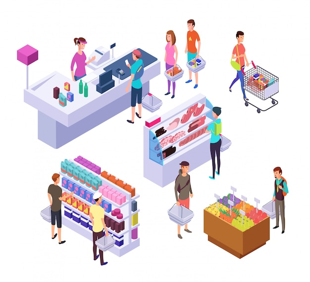 Isometrische supermarkt. 3d supermarktbinnenland met winkelende mensenklanten en producten. retailset