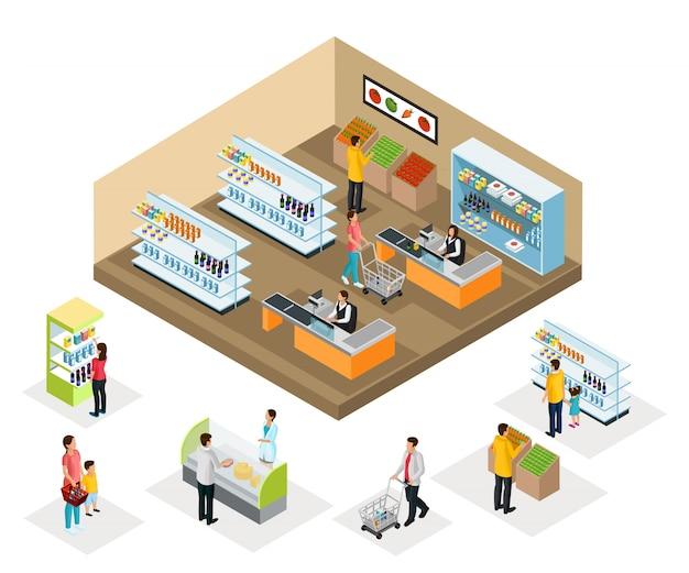 Isometrische supermarkt concept