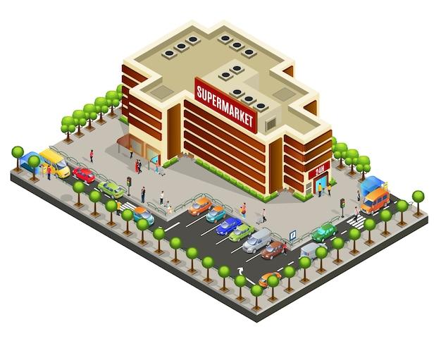 Isometrische supermarkt gebied concept