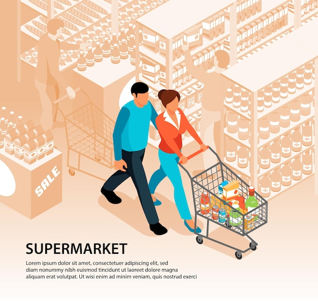 Isometrische supermarkt het winkelen illustratiesamenstelling met het landschap van de teksthypermarkt en paarkarakters die met mandkar lopen